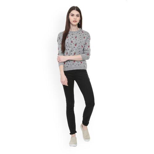 People Women Grey Printed Sweater