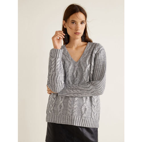 MANGO Women Grey Cable Knit Shimmery Sweater
