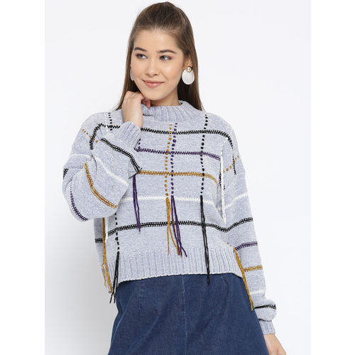 OVS Women Grey Self-Checked Pullover