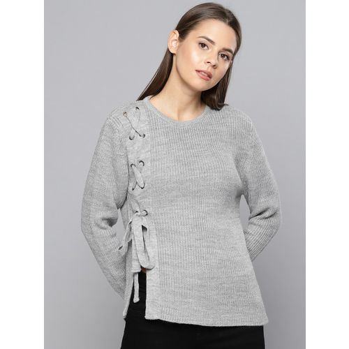 Chemistry Women Grey Striped Pullover