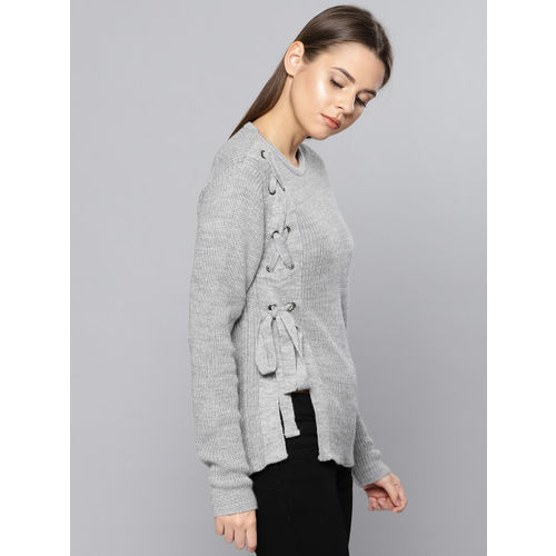 Chemistry Women Grey Striped Pullover