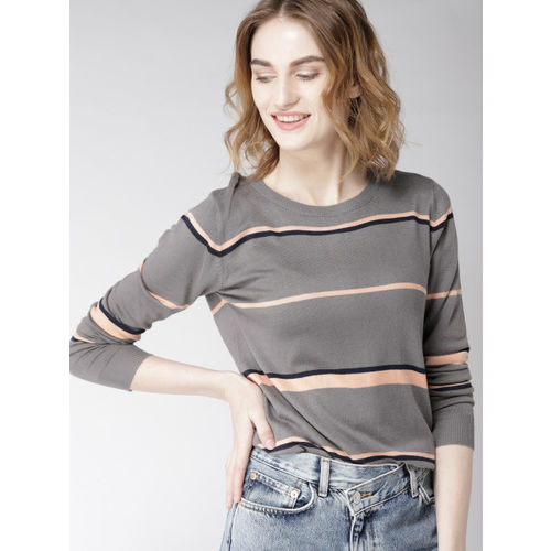Mast & Harbour Women Grey & Peach-Coloured Striped Pullover