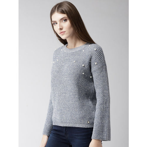 Madame Women Grey & Blue Solid Pullover