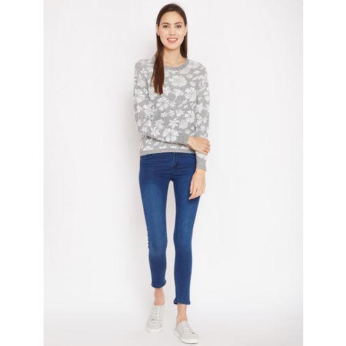 Madame Women White & Grey Self Design Pullover