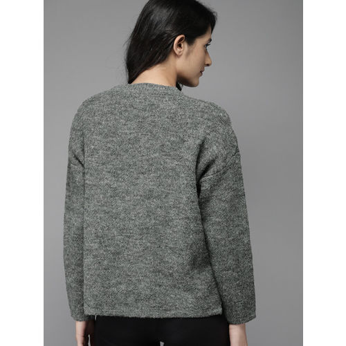 Moda Rapido Women Grey Solid Pullover