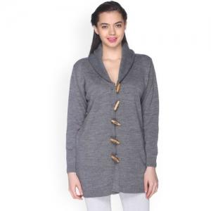 Club York Women Grey Solid Cardigan