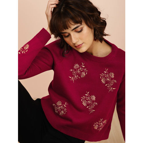 all about you from Deepika Padukone Women Red & Gold-Toned Self Design Sweater