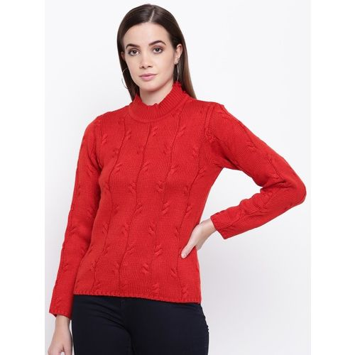 Cayman Women Red Self Design Sweater