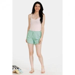 Zivame Spring Love Poly Viscose Sleep Shorts - Green