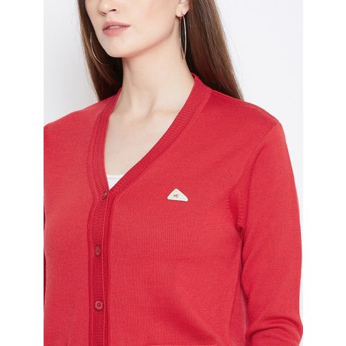 Monte Carlo Women Red Solid Cardigan