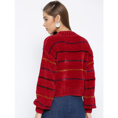 OVS Women Red Self-Checked Pullover