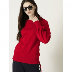 United Colors of Benetton Women Red Self-Striped Pullover