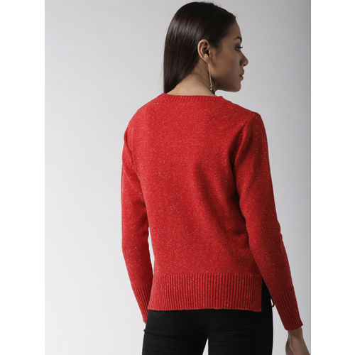 Madame Women Red Solid Pullover