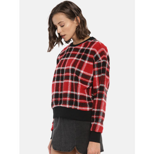 FOREVER 21 Women Red & Black Checked Pullover Sweater