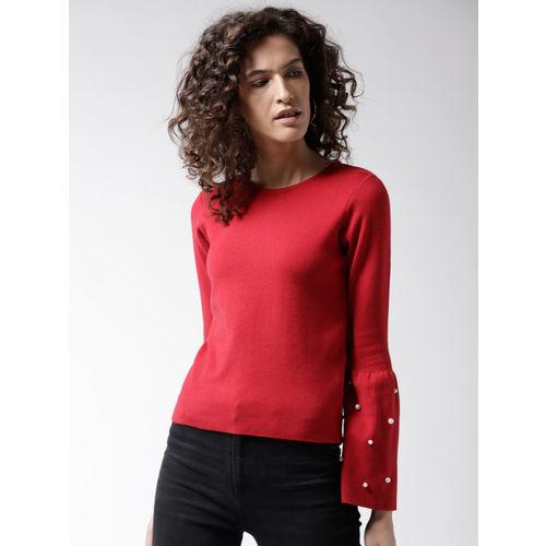 Madame Women Red Embellished Detail Pullover