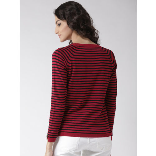 Madame Women Red & Black Striped Pullover