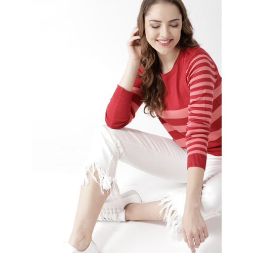 Mast & Harbour Women Red & Coral Pink Striped Pullover