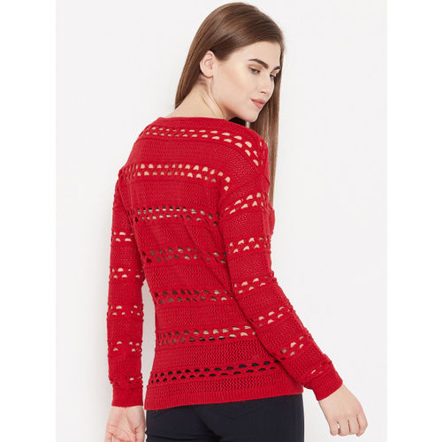 Madame Women Red Self Design Open Knit Pullover