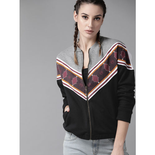 Roadster Women Black & Grey Melange Colourblocked Sweatshirt