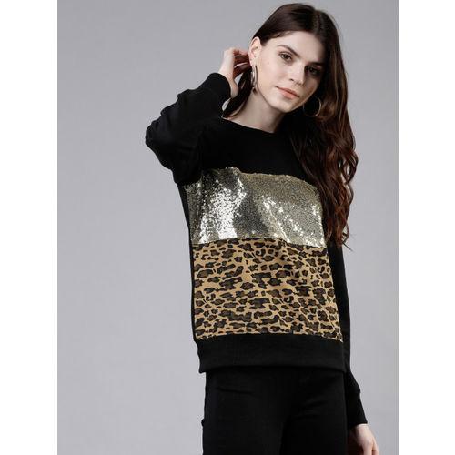 Tokyo Talkies Women Black & Gold-Toned Printed Camouflage & Sequinned Sweatshirt