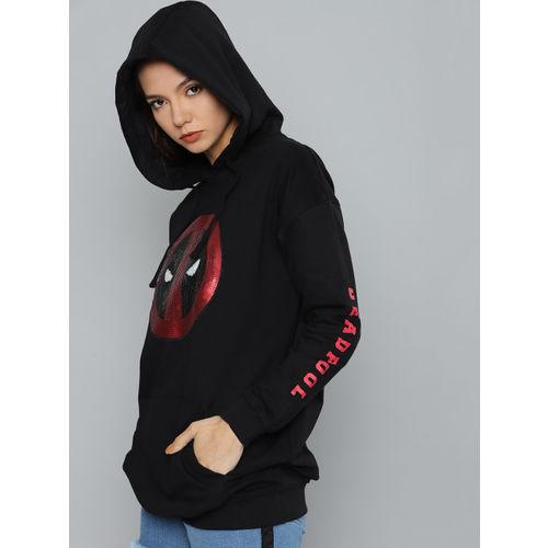 Kook N Keech Marvel Women Black & Red Printed Hooded Sweatshirt