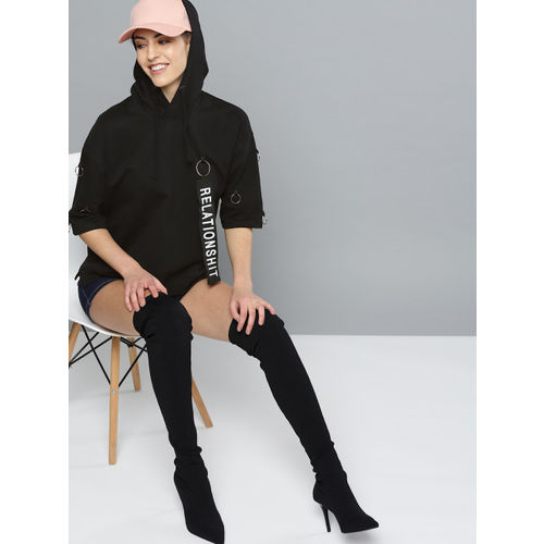 Kook N Keech Women Black Solid Hooded Sweatshirt