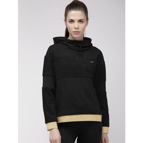 Nike Women Black Solid AS W ICON CLSH FLC PO HD Hooded Training Sweatshirt