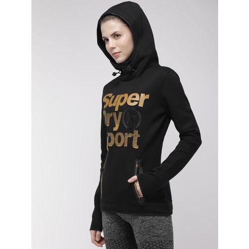 Superdry Women Black Printed GYMTECH GOLD AWARD Hooded Sweatshirt