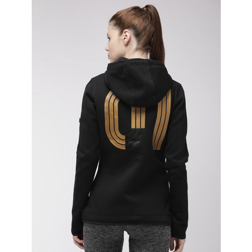 Superdry Women Black Printed GYMTECH GOLD AWARD Hooded Sweatshirt