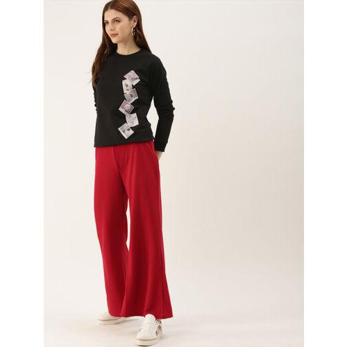 NUSH Women Black Printed Sweatshirt
