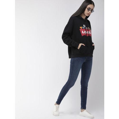 Levis Women Black Printed Hooded Sweatshirt