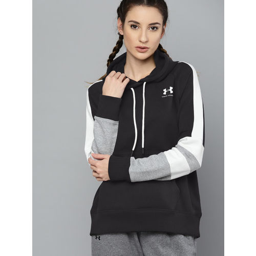 UNDER ARMOUR Women Black Solid Rival Fleece LC Logo Novelty Hoodie