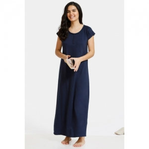 Zivame Dark Blooms Knit Cotton Full Length Night Dress - Navy