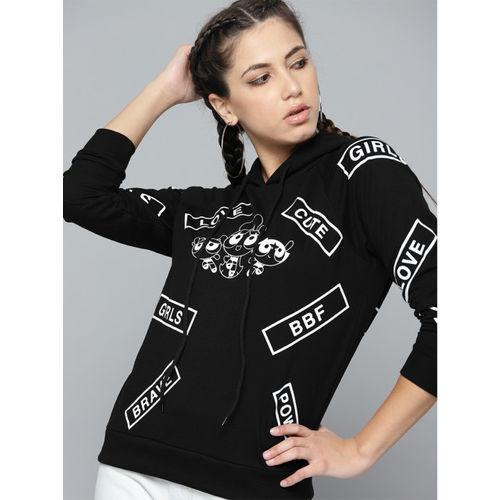 Powerpuff Girls by Kook N Keech Women Black & White Printed Hooded Sweatshirt