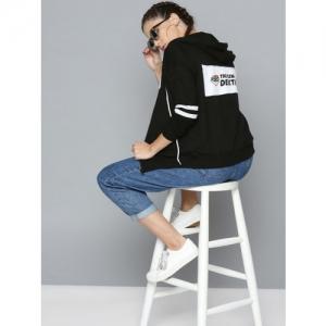 Dexter by Kook N Keech Women Black Printed Back Hooded Sweatshirt