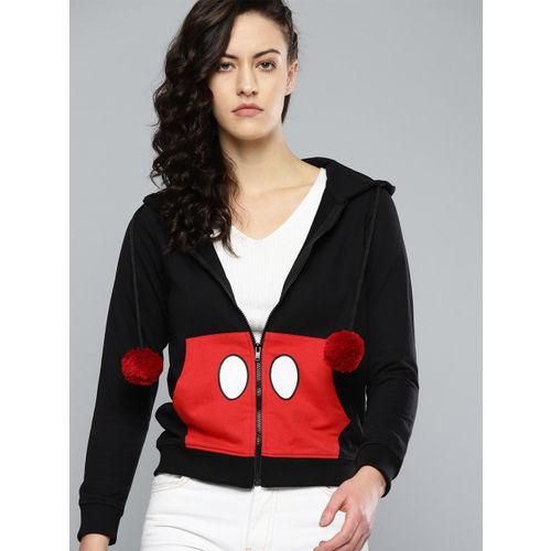 Kook N Keech Disney Women Black & Red Printed Hooded Sweatshirt
