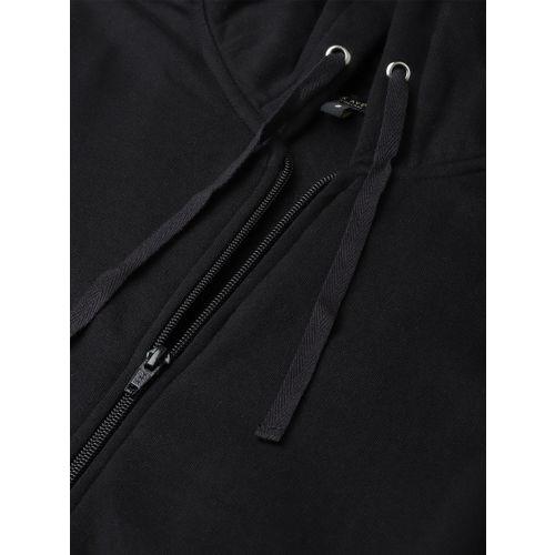 Park Avenue Women Black Solid Hooded Sweatshirt