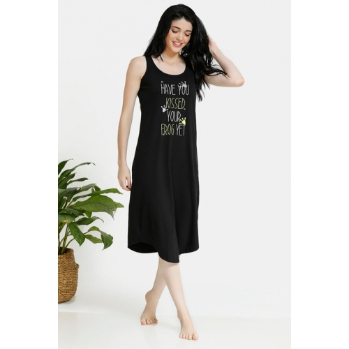 Zivame Tropical Animal Print Cotton Mid Length Night Dress - Black