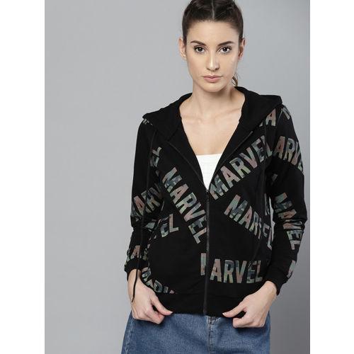Kook N Keech Marvel Women Black & Olive Green Printed Hooded Sweatshirt