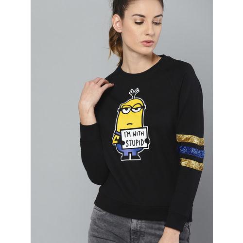 Minions by Kook N Keech Women Black & Yellow Printed Sweatshirt