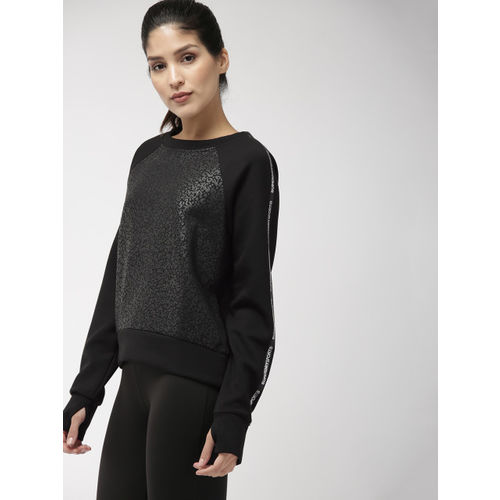 Superdry Sport Women Black CORE GYM TECH TAPED CREW Printed Sweatshirt