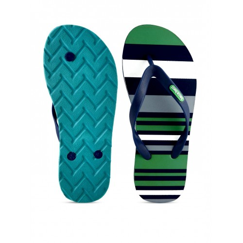 bacca bucci Blue & Green Synthetic Striped Flip-Flops
