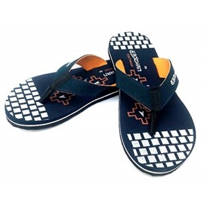 Kanchan Men's Teal & Organe Flip Flops & House Slippers