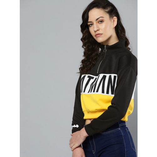 Kook N Keech Batman Women Black & White Colourblocked Cropped Sweatshirt