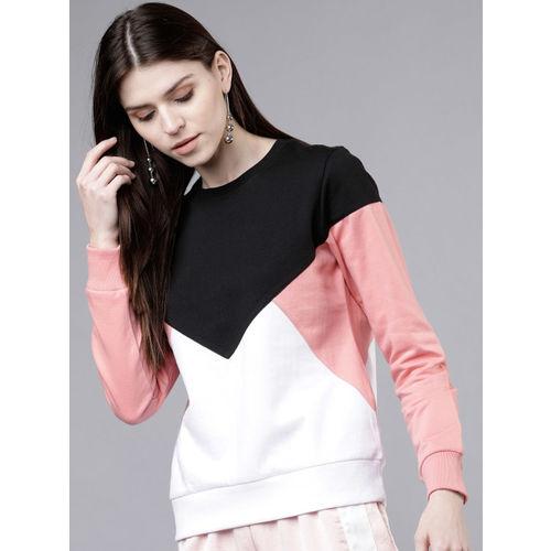Tokyo Talkies Women Black & Pink Colourblocked Sweatshirt