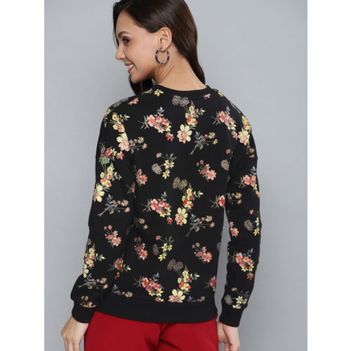 Mast & Harbour Women Black & Yellow Printed Sweatshirt
