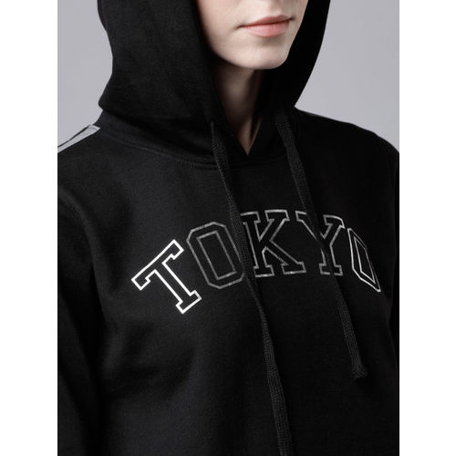 Tokyo Talkies Women Black Printed Hooded Sweatshirt