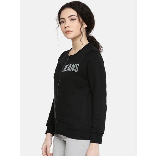 Pepe Jeans Women Black Mickey Fit Solid Sweatshirt