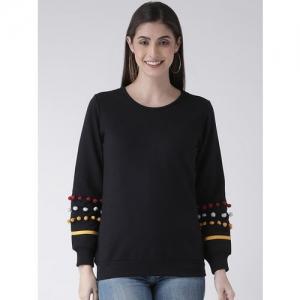 The Vanca Women Black Solid Sweatshirt