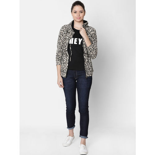 Rute Women Black & Beige Animal Printed Hooded Sweatshirt